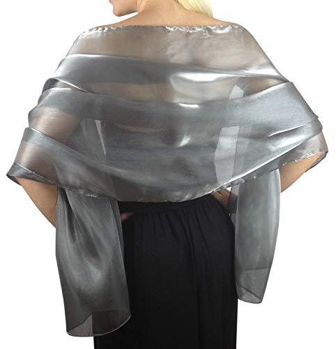 Atemberaubende Silky Iridescent Hochzeit Abschlussball Brautjungfern Wraps Stola Schal Pashmina - 24 Farben ... (Silber-Grau)