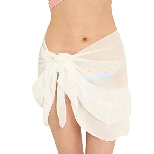 Dragon868 Strandkleid Sommer Rock Frauen Chiffon Sonnencreme Schal Strand Bikini Bademode Wrap Coverup Rock Badeanzug (Weiß)