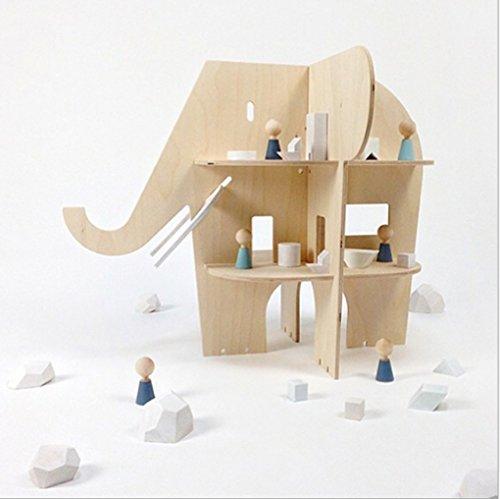 HB.YE Regal Holz Bücherregal Spielzeug Kinder Lagerung Baby Versammlung Kinderzimmer Dekorationen Wohnaccessoires Baby Fähigkeit entwilkt lieb Rakete/Elefanten/Schwäne (Elefant) (Bücherregal 'h)