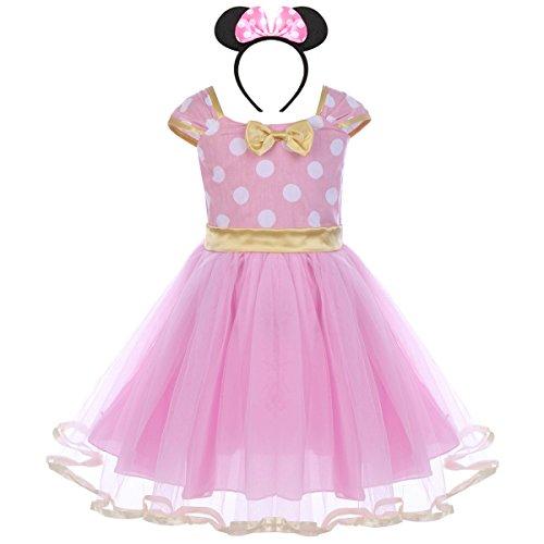 Vestiti carnevale per bambina fiore ragazze abiti vestito costume principessa balletto tutu danza body minnie polka dot rosa(b) 2-3 anni