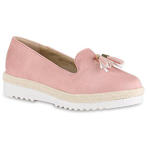 Damen Lack Slipper Loafers Metallic Quasten Schuhe Profilsohle Rosa Velours Quasten