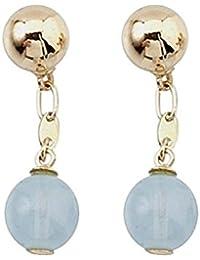 Gemelos oro 18k dos bolas oro y piedra color
