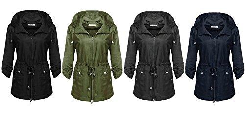 ANGVNS Damen Übergangsjacke Kapuzenjacke Anorak Windbreaker Wasserdicht Jacke Regenjacke Herbst Dunkelblau