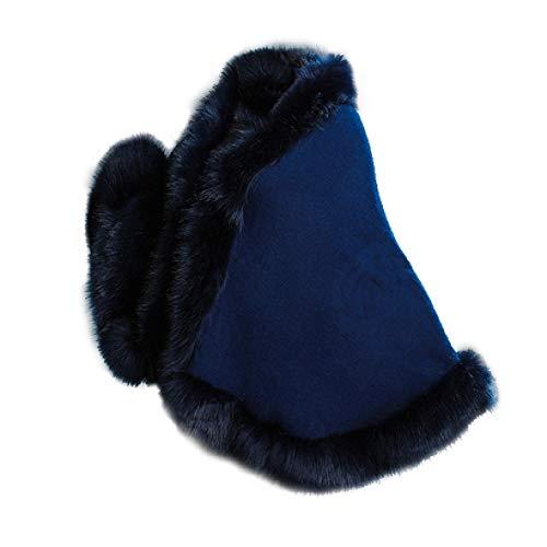 Sciarpe in pelliccia di volpe, cappotto invernale in cashmere, cappotto grande scialle sexy in finta pelliccia, 12 colori alla moda elegante blu navy Taglia u