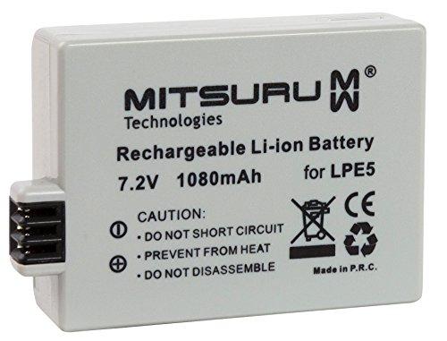 Mitsuru® 1080mAh Akku Ersatz für LP-E5 LPE5 LPE-5. passend zu Canon EOS 450D 500D 1000D Digital Rebel XSi (Eos Digital Rebel Xsi)