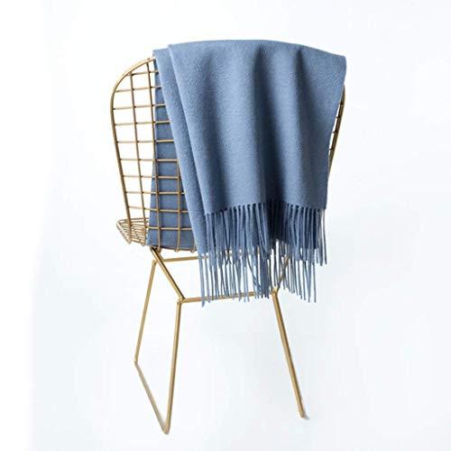 Zhou Yuqi 100% reine Wolle High End Damen großer Schal Schal mit doppeltem Verwendungszweck japanische einfarbige warme wilde dicke langen Abschnitt (Farbe: blau) -