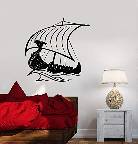 pegatinas de pared baratas Cabeza de dragón vikingo Nave Sailors Sea Waves