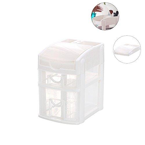 Schmuck-storage-staub-abdeckung (Baffect Mini 2 Ebenen Desktop Schublade Aufbewahrungsbox, Kunststoff Schubladen Box mit 2 Schubladen Organizer Einheit Storage Tower Schubladen Desktop Organizer für Schule Office Home (weiß))