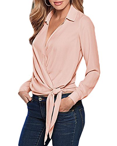 Smile YKK Chemise Manche Longue Femme Chemisier Eté T-shirt Top Uni Bandage Casual Soirée Rose