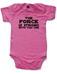 The Force is strong with this one printed short sleeved babygrow onesie in 8 colours and 4 sizes