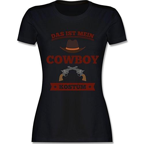 Karneval & Fasching - Das ist Mein Cowboy Kostüm - XL - Schwarz - L191 - Damen Tshirt und Frauen T-Shirt