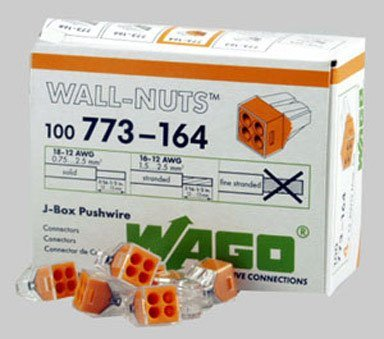 Wago Wire Connector 600 V Clear 4 Conductor 100 / Box by Wago Corporation - 600v Wire