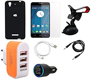 NIROSHA Tempered Glass Screen Guard Cover Case Car Charger USB Cable Mobile Holder Charger Combo for YU Yureka Combo