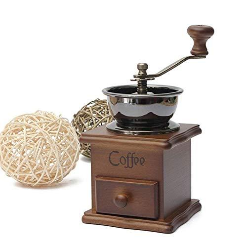 Lionina Mini Manuelle Kaffeemühle aus Holz, Kaffeebohnen-Gewürze, Vintage-Stil, Kaffeebohnen-Handmühle mit Holzkurbel