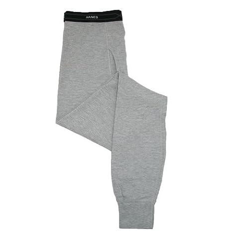 Hanes Mens Cotton Long-Sleeve Thermal Underwear Pants, 2XL, Heather Grey