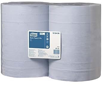 TORK 128408 Papier d'essuyage Basic Bobine Bleue W1, 340 m x 36,9 cm, vendu par lot de 2