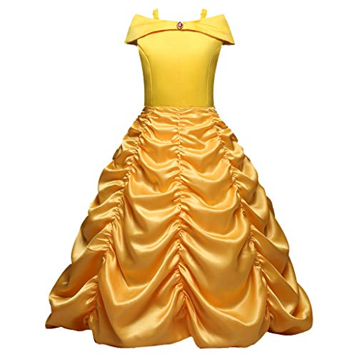Kostüm Mieten Zum Cosplay - Lazzboy Kleinkind Baby Kinder Mädchen Rüschen Geraffte Strap Solide Party Cos Prinzessin Kleid Weihnachtsmädchen Cosplay Kostüm Fancy(Gelb,Höhe:110)