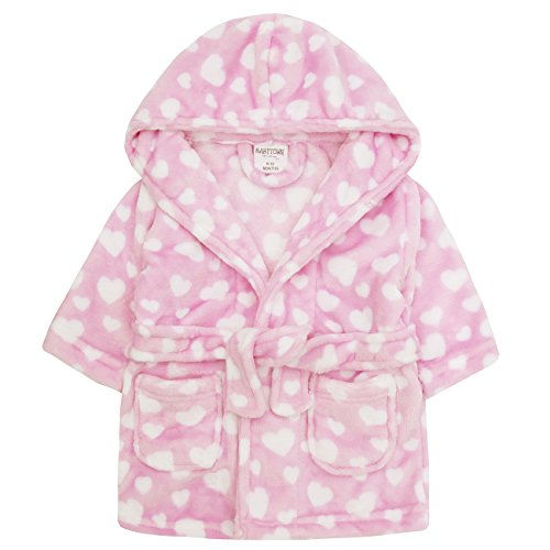 Babytown Baby Girls Velvety Soft Hooded Heart Dressing Gown Pink 6-12 months