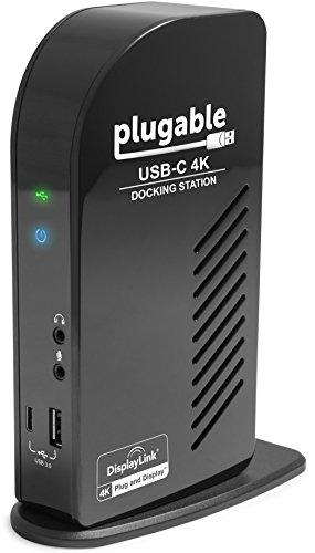 Plugable USB-C 4K Dreifach-Display-Dockingstation mit Aufladefunktion für bestimmte Mac & Windows USB-Typ-C-/Thunderbolt-3-Systeme (1x HDMI & 2x DisplayPort++-Ausgänge, 60 W USB PD)