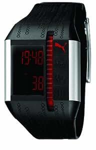 Puma Cardiac II Unisex Digital Watch with Black Dial Digital Display and Black PU Strap PU910501001