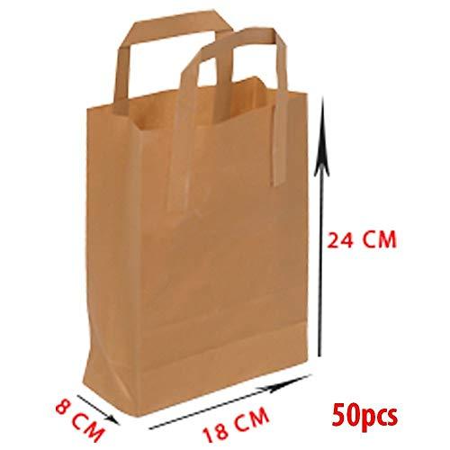 Asiam Impex Sarl Sac en Papier – Poignée Plat - 18x8x24-70gsm – 50 piéces - Papier Kraft Marron - Non imprimé -%100 Recyclable