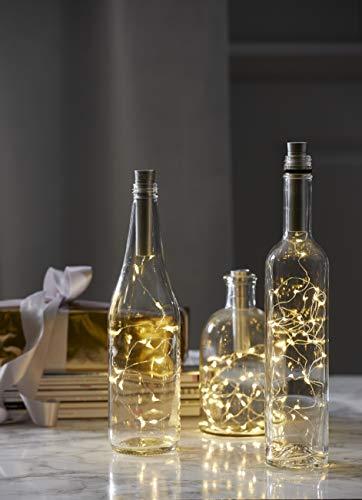 Best Season Dew-Drop Flaschenlichterkette mit Batterie, Draht Metall, Silber, 0,1 x 75 x 0,1 cm - Beste Drop