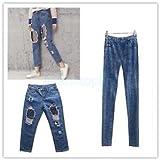 Black Fishnet Spliced Lady Cotton Slim Distressed Jeans Denim Leggings Pants