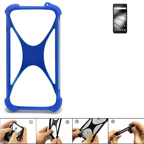K-S-Trade Handyhülle Gigaset GS370 Plus Silikon Schutz Hülle Cover Case Bumper Silikoncase TPU Softcase Schutzhülle Smartphone Stoßschutz, blau (1x)