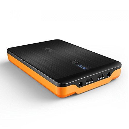 Intocircuit Power Monster 32000mAh Powerbank Portabel Externer Akku Pack, 3-Port Ausgang mit Smart LCD-Display für Smartphone, Laptop und Tablet PC, Orange & Schwarz