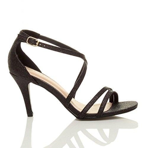 Femmes talon moyen haut lanières croisé mariage bal sandales chaussures taille Paillettes noir