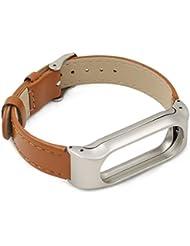 iMounTop Xiaomi Mi Band 2 Ersatz Leder Armband Bracelet Schnalle mit Klammer Clasp für Xiaomi Mi Band 2 OLED-Schirm-Noten-Mi Band 2 Armband Smart-Armband (Mi Band Version 2.0)( Hinweis: den Tracker nicht umfassen)