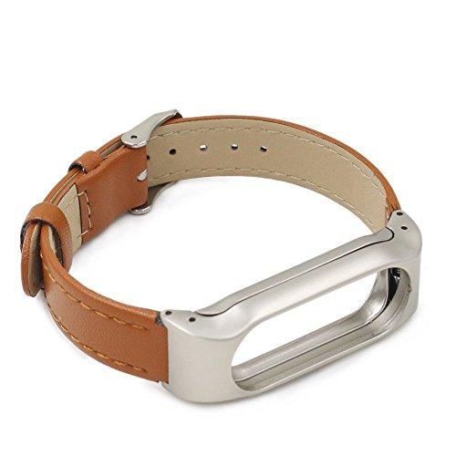 iMounTop Xiaomi Mi Band 2 Ersatz Leder Armband Bracelet Schnalle mit Klammer Clasp für Xiaomi Mi Band 2 Armband Smart-Armband (Mi Band Version 2.0)( Hinweis: den Tracker nicht umfassen)(Braun) (Leder 2.0)