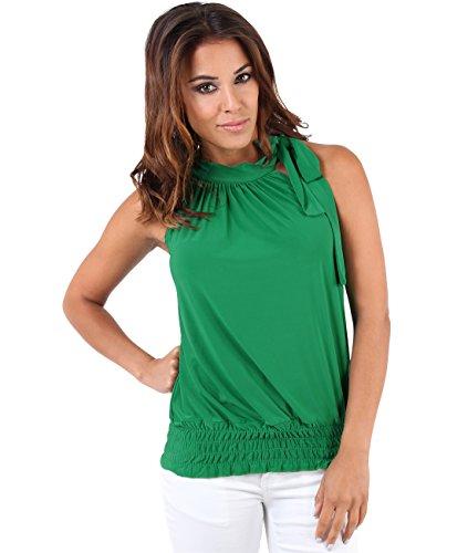 Krisp Damen Neckholder Plissee Top mit Schleife 7571 Grün (Jadegrün 18), 44 (Herstellergröße: 16) (Damen Plissee-bluse)