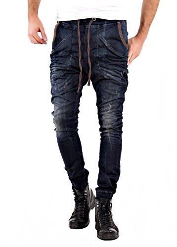 Men pareggianti pantaloni in JEANS ottica LOOSE CROTCH Pareggiatore JOGG pantaloni corti pantaloni felpa di formazione pantaloni casual Pants pantaloni della tuta nuovo DENIM blu SKINNY Harem pants piccolomp proteine protein pump taglia XS Sml XL pantaloni da Blu blu