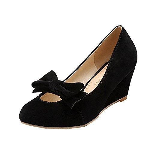 ENMAYER Femmes nu élégant Buck mi Semelle Antidérapante Talon Solide Escarpins Chaussures avec Bowtie Noir
