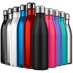 Invool de Botella de Agua de Acero Inoxidable,diseño de Pared Doble,Boca estándar,para Correr, Gimnasio, Yoga, Ciclismo,500ML,Negro
