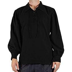 GladiolusA Camisa con Cordones Renacentista Medieval para Hombres Disfraz De Pirata Tunica Negro S