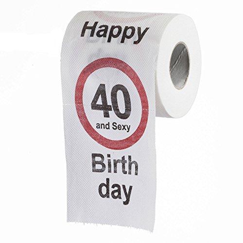 """Lustiges Fun Klopapier zum 40. Geburtstag Toilettenpapier Geschenkartikel Geburtstags-Dekoration """"40 und Sexy!"""""""