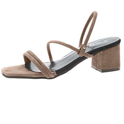 BURFLY - Damen - Vierkantkopf, Zwei Sandalen, atmungsaktive Damen - Sandalen, lässige High Heels - bequem Beaded High Heel Heels