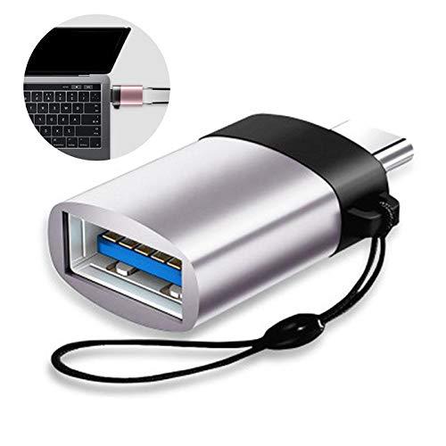 LayOPO USB-C-zu-USB-3.0-OTG-Adapter, Aluminium-USB-C-Konverter mit Streifen für MacBook Pro 2018/2017, MacBook Air 2018, Pixel 3, Dell XPS und Weitere Typ-C-Geräte - Schwarz