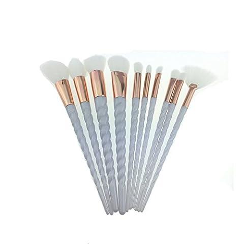 Pinceaux de maquillage, Chinkwin 10Pcs / set Rainbow Foundation Powder Highlighter Brosse à paupières Spiral Design (Blanc)