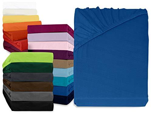 npluseins klassisches Jersey Spannbetttuch - erhältlich in 34 modernen Farben und 6 verschiedenen Größen - 100% Baumwolle, 90-100 x 200 cm, royalblau