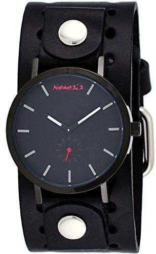 Nemesis BN222K Men's Black IP Blackout Minimalist Dial Wide Leather Band Watch