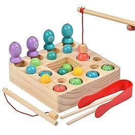 YOTINO Gioco di Pesca Giocattoli di Legno 2 in 1 Gioco di Pesca Giocattoli educativi Montessori Gioc