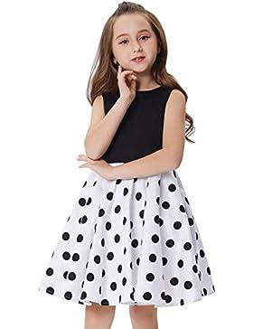 GRACE KARIN Vestido Vintage de Niñas Años 50 para Fiesta Cóctel Vestido Algodón de Verano sin Mangas
