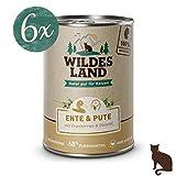 Wildes Land | Nassfutter für Katzen | Nr. 5 Ente & Pute | 6 x 400 g | Getreidefrei | Extra viel Fleisch | Beste Akzeptanz und Verträglichkeit | Rohstoffe aus der Lebensmittelproduktion | Hergestellt in Deutschland
