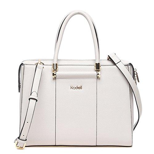 e0fb1f5a0fc8e ... Kadell Frauen Luxus Leder Designer Handtaschen Top Griff Geldbörse für Damen  Umhängetasche Grau-weiß Grau ...