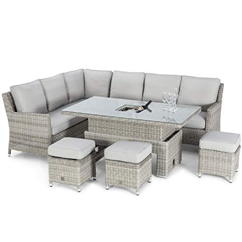 41I01OTxbjL. SS500  - Cambridge Weatherproof Rattan Corner Dining Set with Ice Bucket and Rising Table