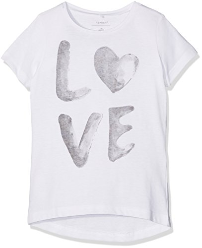 NAME IT Mädchen T-Shirt Nitkope SS Top Box NMT, Weiß (Bright White Bright White), 134