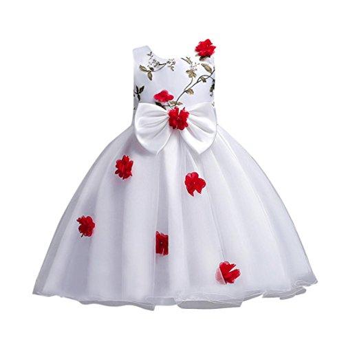 Btruely Prinzessin Kleid Mädchen Brautjungfern Kleid Blume Abendkleid Formale Cocktailkleid Ballkleid Blumenkleid Ärmellos Partykleid Retro Hochzeitskleid Bowknot Kleid (140, Rot)